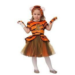 Карнавальные и театральные костюмы - Карнавальный костюм «Тигряша», платье, головной убор, р. 30, рост 116 см, 0