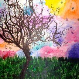 Картины, постеры, гобелены, панно - Красивые рисунки акварелью Одинокое дерево, 0