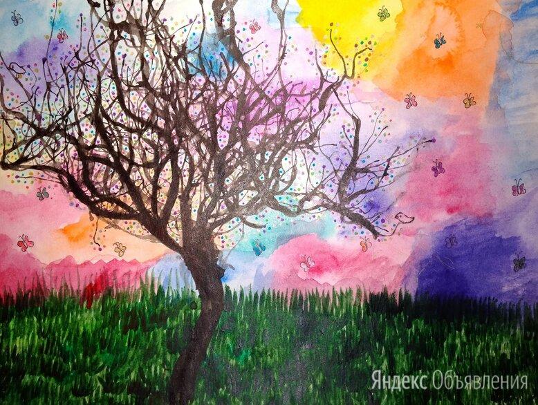 Красивые рисунки акварелью Одинокое дерево по цене 500₽ - Картины, постеры, гобелены, панно, фото 0