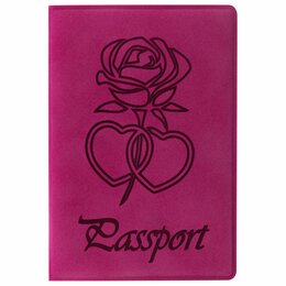 Обложки для документов - Обложка для паспорта STAFF, бархатный полиуретан, «Роза», розовая, 237619, 0