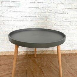 Столы и столики - Стол журнальный круглый пластик+дерево, серый, 0