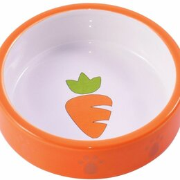 Товары для сельскохозяйственных животных - Керамическая миска для грызунов 70 мл оранжевая с морковью, 0
