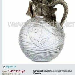 Кувшины и графины - Штоф для виски хрустальный серебро. Фирма Faberje. Новый, о цене договоримся. , 0