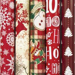 Подарочная упаковка - Бумага упаковочная новогодняя 70х100 см ЗОЛОТАЯ СКАЗКА «Red Collection», 5 дизай, 0