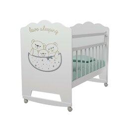 Матрасы и наматрасники - Кровать детская Love Sleeping колесо-качалка (белый) (1200х600), 0