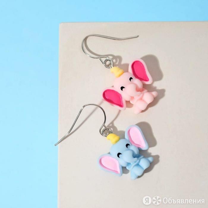 """Серьги детские """"Выбражулька"""" слоники, цветные в серебре по цене 261₽ - Серьги, фото 0"""