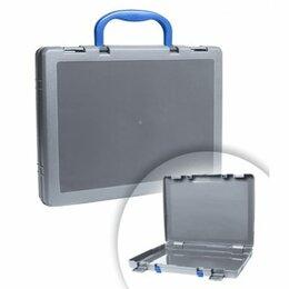 Рюкзаки, ранцы, сумки - Портфель - кейс Стамм, серый тонированный, с цветными ручками (8), 0