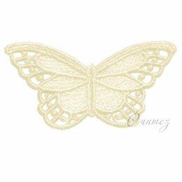 Рукоделие, поделки и сопутствующие товары - Нашивка вышитая бабочка кружевная аппликация цвета шампань 3,7х7 , 0