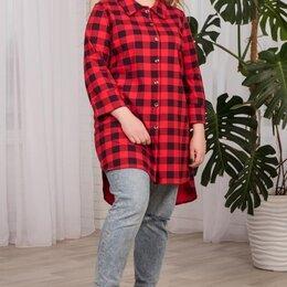 Домашняя одежда - Рубашка женская Клетка, красная, 0