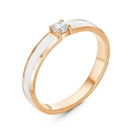 """Свадебные украшения - Кольцо минимал """"Классика"""" позолота, цвет белый, 17,5 размер, 0"""