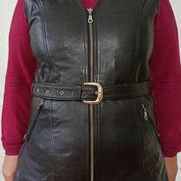 Жилеты - Черный кожаный женский жилет, 0