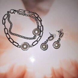 Комплекты - Комплект браслет и серьги цепи с жемчугом, 0