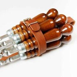 Шампуры - Подарочный набор 6 шампуров в кожаном  получехле, 0