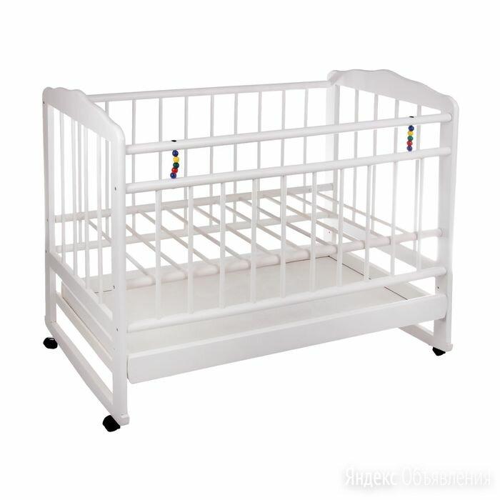 Детская кроватка 'Женечка-4' на колёсах или качалке, с ящиком, цвет белый по цене 7625₽ - Игрушечная мебель и бытовая техника, фото 0