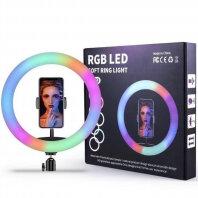 Фотоаппараты - Кольцевая светодиодная ЦВЕТНАЯ LED лампа с держателем MJ26, 0
