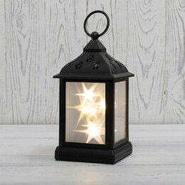 Интерьерная подсветка - Фонарь декоративный 11х11х22,5 см, черный корпус, теплый белый цвет свечения ..., 0