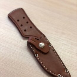 Кейсы и чехлы - Ножны кожаные для охотничьего ножа на ремень, 0