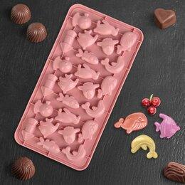 Формы для льда и десертов - Форма для льда и шоколада «Жители моря», 28×14,5 см, 24 ячейки, цвет МИКС, 0