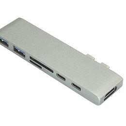 Компьютерные кабели, разъемы, переходники - Адаптер сдвоенный Type C на HDMI, USB 3.0*2 + Type C* 2 + SD/TF для MacBook с..., 0