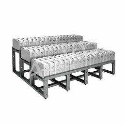 Мебель для учреждений - Трехрядный трехуровневый аккумуляторный стеллаж серии КРОН-АКС-123, 0