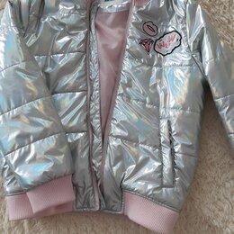 Куртки и пуховики - Куртка димесезонная серебристая для девочки 134 размер, 0