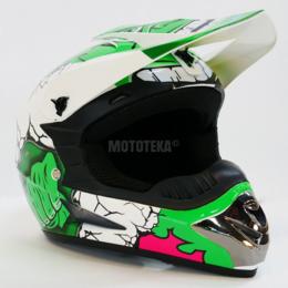 Спортивная защита - Шлем Motax (Мотакс) детский кроссовый глянцево-белый-зеленый (G8), 0