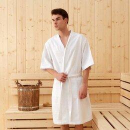 Домашняя одежда - Халат вафельный мужской Этель «Дубки» р-р 58-60, цв. белый, вафля 220 г/м2, 1..., 0