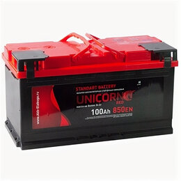 Аккумуляторы и комплектующие - Аккумулятор Unicorn Red 100 Ач 850А прямая полярность, 0