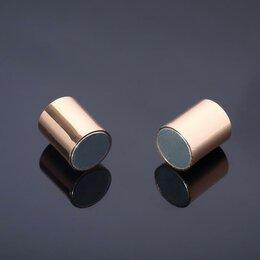 Аксессуары - Замок-концевик магнитный, L=20мм, вн.D=8мм, (набор 3шт), цвет золото, 0