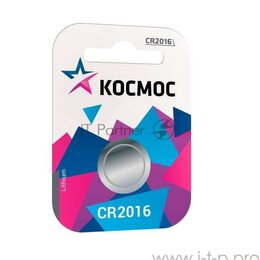Батарейки - Элемент питания литиевый Cr 2016 1хbl (блист.1шт) Космос Koc20161bl, 0