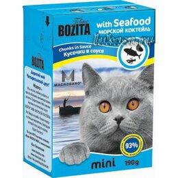 Кремы и лосьоны - BOZITA мини Tetra Pac д/кош конс 190г Морской коктейль кусочки в соус, 0