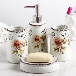 Полки, шкафчики, этажерки - Набор аксессуаров для ванной комнаты «Роза», 4 предмета (дозатор 400 мл, мыль..., 0