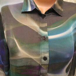 Блузки и кофточки - Рубашка с принтом шелк женская, 0