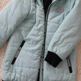 Куртки и пуховики - Куртка удлиненная зимняя бирюзового цвета для девочки 134 размер, 0