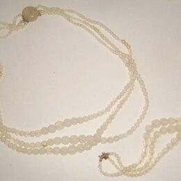 Комплекты - Комплект из белого агата- бусы и браслет винтаж, 0