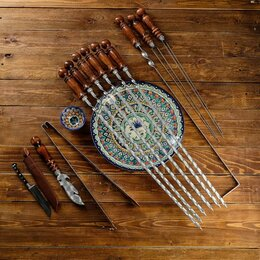 Шампуры - Набор узбекских шампуров 50см, + аксессуары, 'Шархон' 14 предм., 0