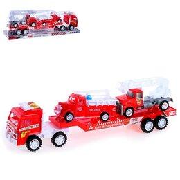 Автокресла - Грузовик инерционный «Автовоз», с 2 пожарными машинами, 0