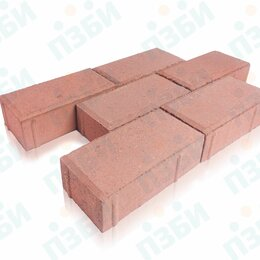 Тротуарная плитка, бордюр - Плитка тротуарная брусчатка красная 200х100х60 мм (вибропресс), 0