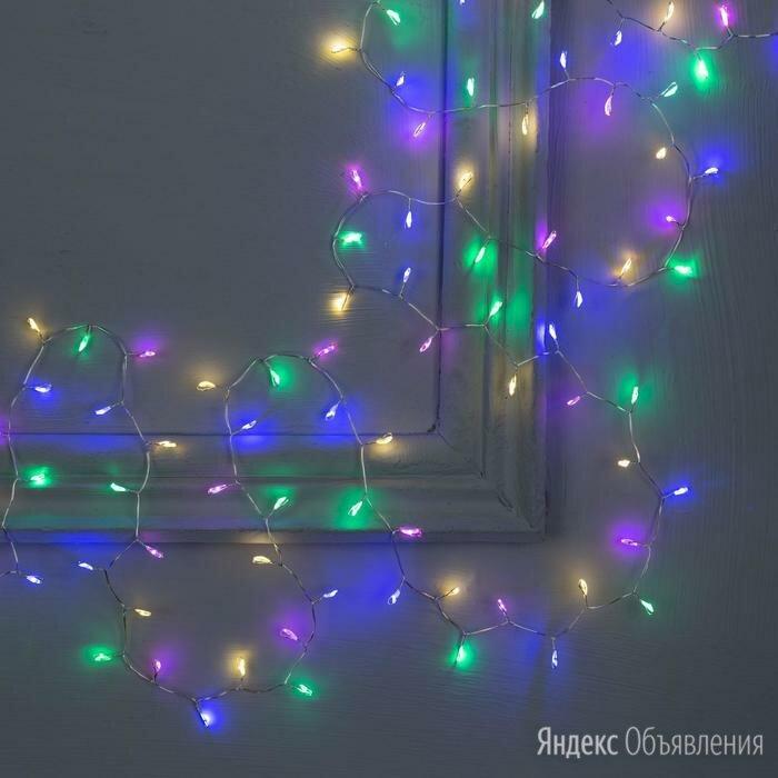 Гирлянда 'Мишура' 2 м роса, IP20, серебристая нить, 100 LED, свечение мульти,... по цене 495₽ - Ёлочные украшения, фото 0