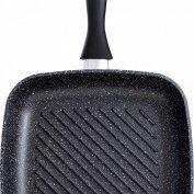 Сковороды и сотейники - Сковорода-гриль литая Каменная черная, 26*26см, для всех плит (кроме индукции..., 0
