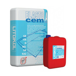 Строительные смеси и сыпучие материалы - Гидроизоляция ELASTOCEM (А+B) сухой компонент A (мешок) 24 кг, 0