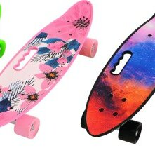 Скейтборды и лонгборды - Пенниборд с ручкой (разные цвета), 0