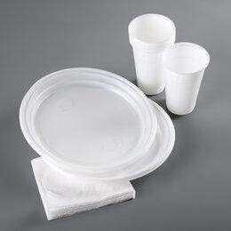 Наборы для пикника - Набор одноразовой посуды «Красавчик», 6 персон, цвет белый, 0