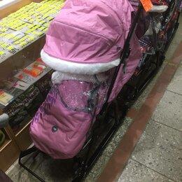 Санки и аксессуары - Санки-коляска меховые Ника-7/5 с сумкой рукавичками 3 положения спинки , 0