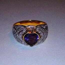 Кольца и перстни - Кольцо золотое 585 пр. бриллианты, аметист сердце, 0