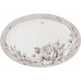 Блюда, салатники и соусники - Блюдо Lefard White flower 36х24см овальное,серый,фарфор, 0
