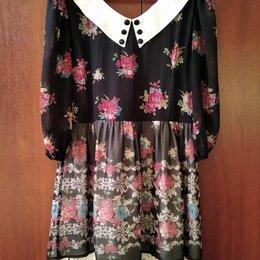 Платья - Платье цветочный принт с белым воротом р-р 46, 0