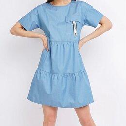 Платья - Голубое хлопковое платье, 0