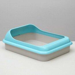 Туалеты и аксессуары  - Туалет 'Мур-мяу' для кошек, с рамкой, голубой, 0