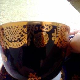 Кружки, блюдца и пары - Чайная пара лфз кобальт с позолотой, 0